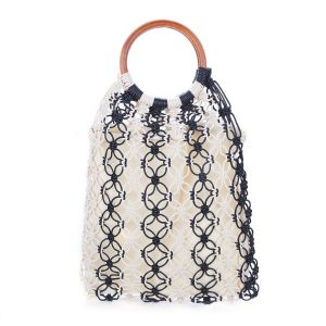 588 straw bag in Black