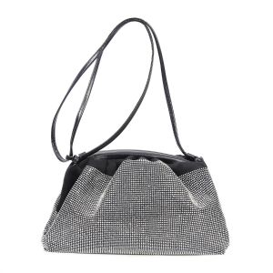 60097 Silver crystal large soft pouch bag