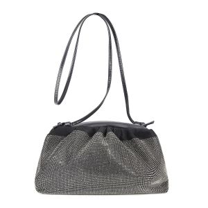 60097 Black crystal large soft pouch bag