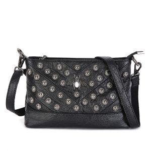 4711 Black pearl bee leather bag