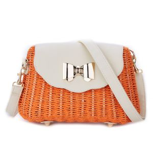 125 Natural straw bag in Orange