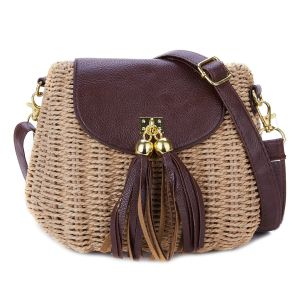 217 Natural straw handbag in Brown with tassels