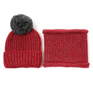 SD73 Hat and snood set in Wine