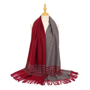 HUA043 Red/Burgundy square patterned