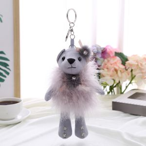 B2 love teddy in feather skirt - Silver