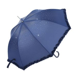 TW09 Navy diamante Umbrella with Frill  Trim