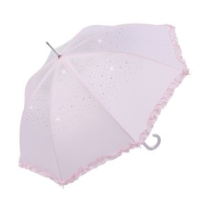 TW09 Baby Pink diamante frilly umbrella