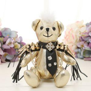 B26 Gold shoulder pad teddy bear