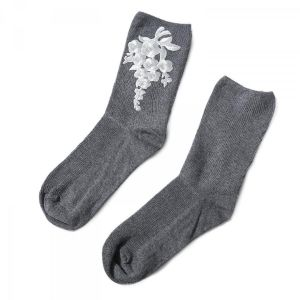 1018 floral embroidered socks dark Grey