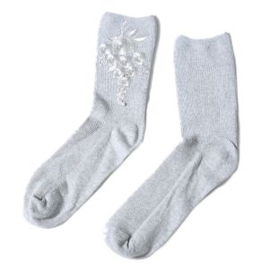 1018 floral embroidered socks Silver