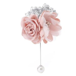 1514 Silk flower pearl pin Baby Pink