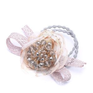 HAI14 hair bobbles with cluster beads in Beige