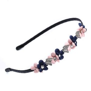 HA18 Delicate flower hair band in Pink and Navy mix
