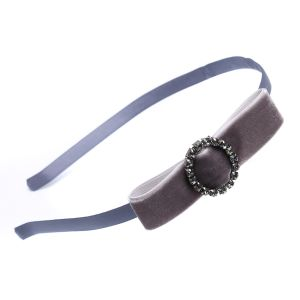 HA16 Velvet bow hair band in Silver