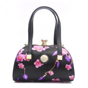 61329 Fuchsia / Purple floral leather