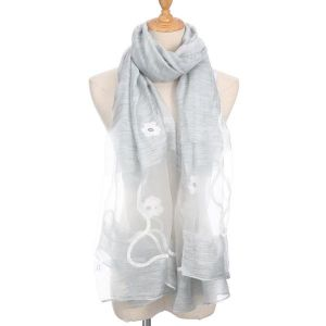 SK20 Silver with White embroidered flowers