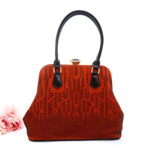 CD4093 Orange Glitter / Suede Leather