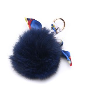 3010 Fur pom pom in Navy