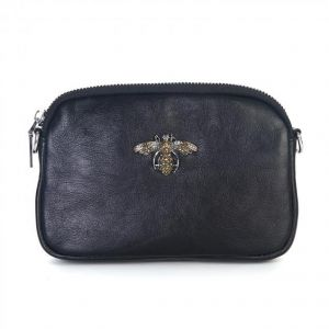 8801 Crystal Bee black leather pouch