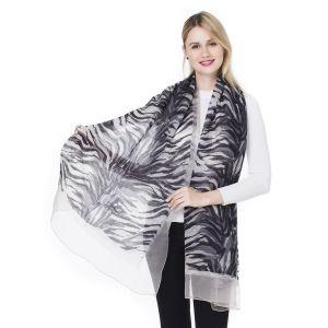 HUA 005 Silk printed shawls in Silver/ Grey