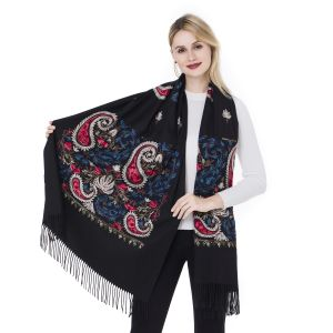 HUA006 embroidery paisley design in Black