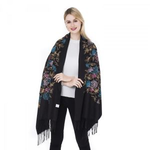 HUA007 floral embroidery in Black