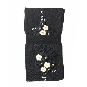 SDK1038 Black leggings with Yellow floral details