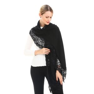 SD43 angora wool shawl with lacy in Black