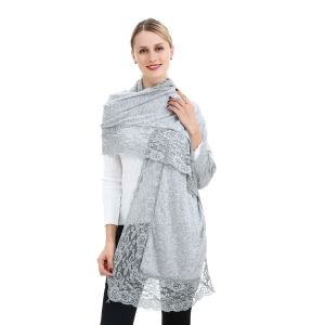 SD43 angora wool shawl with lacy edge in Silver
