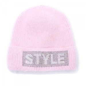 SD47 Angora wool Bling style hat in Baby Pink