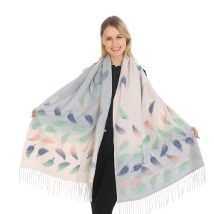 HUA027 Two tone multi coloured leaves Silver/Cream