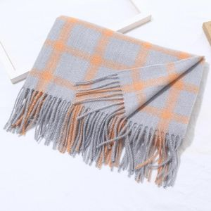 HUA038 Tartan in Orange Silver mixed