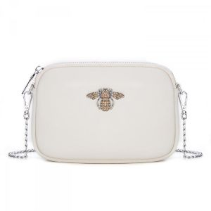 8801 Crystal Bee cream leather pouch