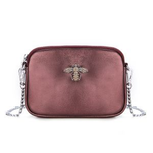 8801 Crystal Bee Chestnut leather pouch