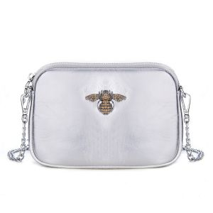 8801 Crystal Bee Silver leather pouch