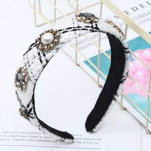 HA193 Jewelled White tweed hair band