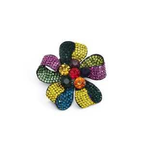 1520 Magnetic diamante floral brooch in multi colours