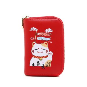 pur015  Lucky fortune Chinese cat in Red