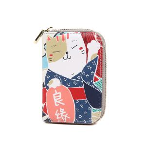 pur016 Lucky fortune Japanese cat in Blue