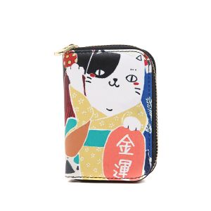 pur016 Lucky fortune Japanese cat in Black