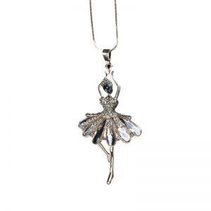 ER043 Silver ballerina girl
