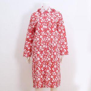 Red / white daisy print hooded Rain coat