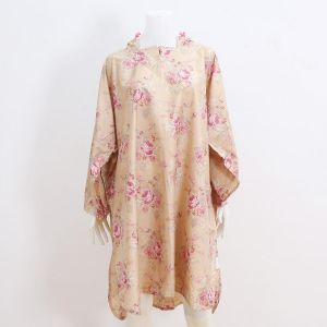 Nude floral print hooded raincoat
