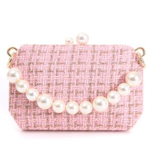 JH019 Pink tweed bag with chunky pearl handle