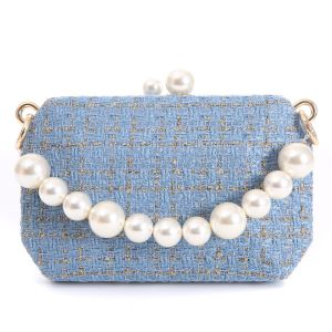 JH019 Babyblue tweed bag with chunky pearl handle