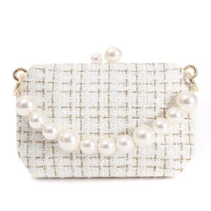 JH019 Cream tweed bag with chunky pearl handle