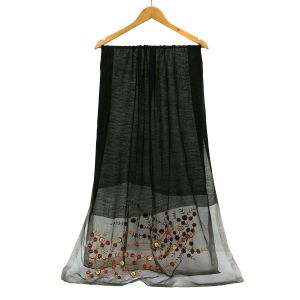SK14 Black silk with embroidery details