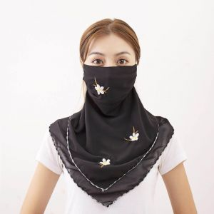 010 Large embroidered scarf mask Black