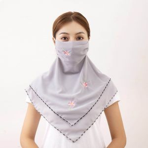 010 Large embroidered scarf mask Grey