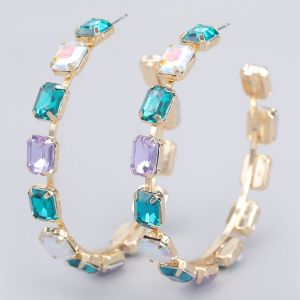 ER15 oversized  Jewelled Hoops Turquoise and Lilac